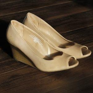Tan & Wood Wedge Peep Toe Heels